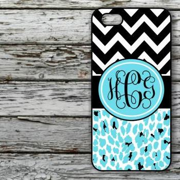 Monogrammed Leopard Print 4/4S case - Personalized Hard Cases for iphones